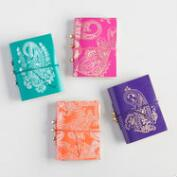 Paisley Leather Journals with Ties Set of 4