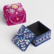 Square Beaded Lacquer Boxes Set of 2