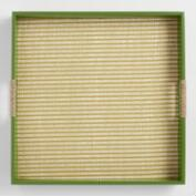 Green Painted Wood and Rattan Tray