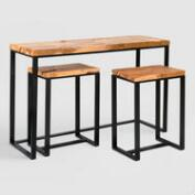 Wood and Metal Bronwyn 3 Piece Bar Set