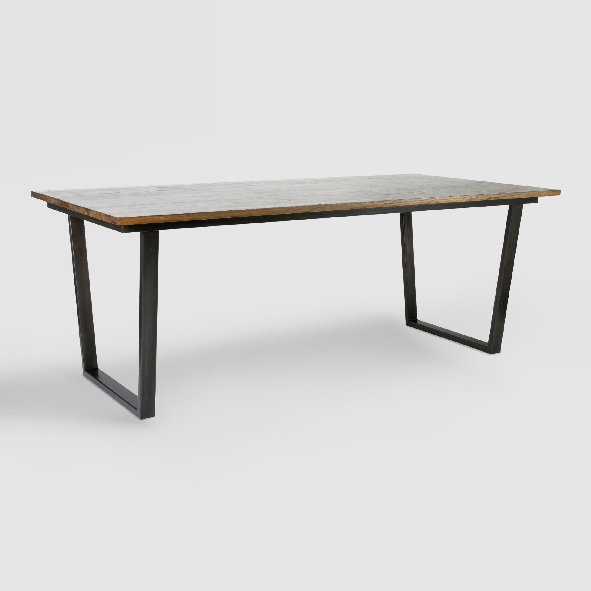 Wood and metal ryley dining table world market for Metal dining table