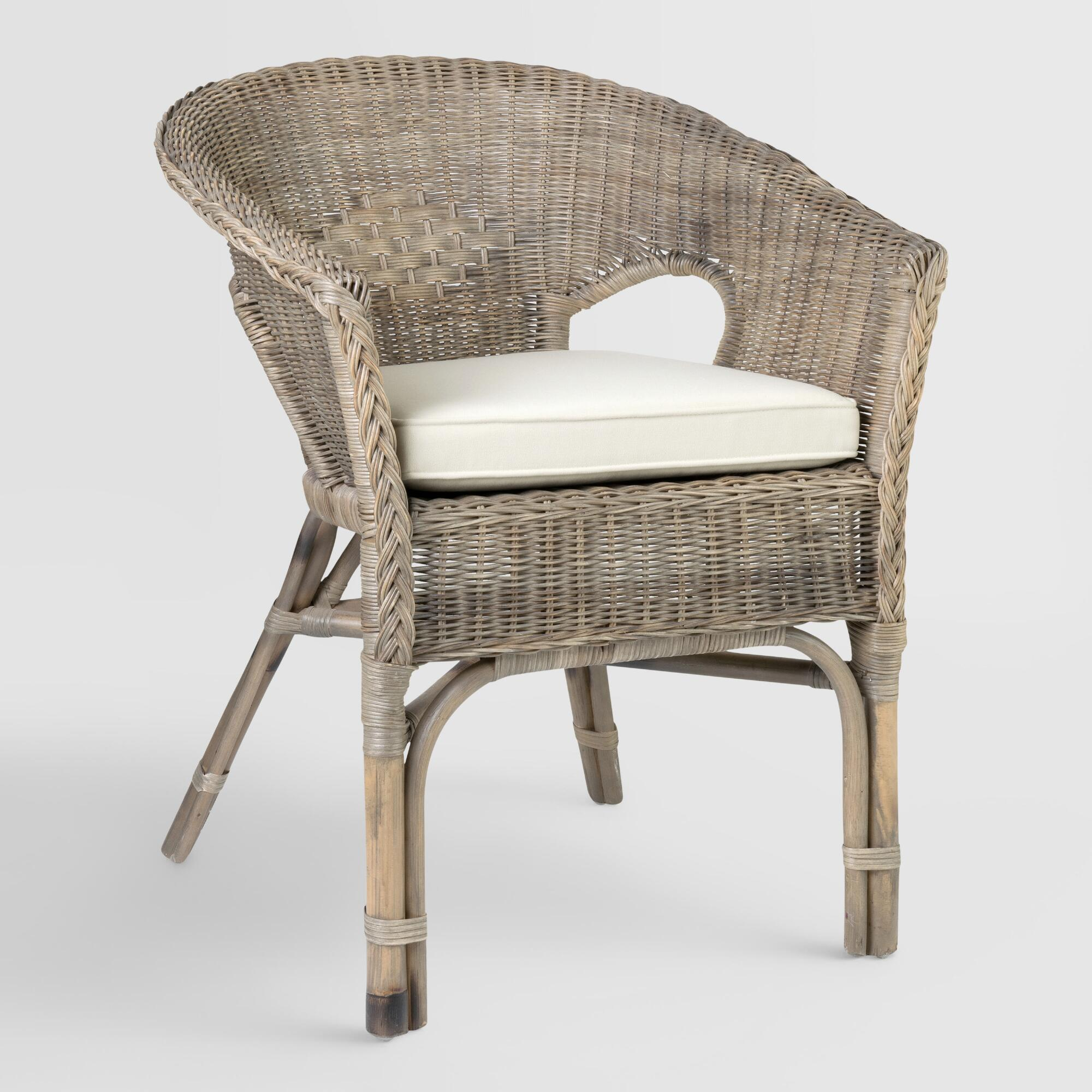 Gray rattan adrie tub chair world market for Cane and wicker world