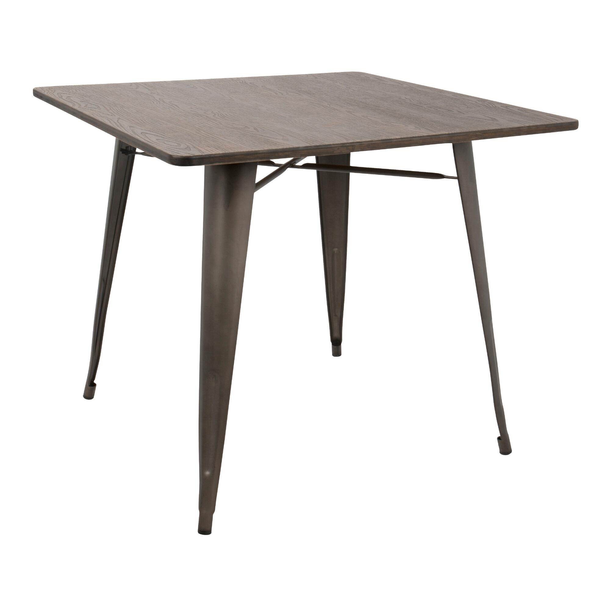 Square Espresso Metal And Wood Arwen Dining Table World