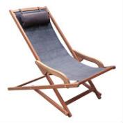 Gray All Weather Wicker Lanai Sling Lounger Chair