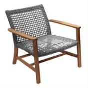 Wood and All Weather Wicker Hakui Accent Chairs Set of 2