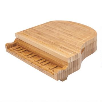 Bamboo Grand Piano Cheese Board Set