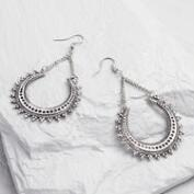 Large Silver Crescent Drop Earrings