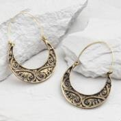 Gold Etched Crescent Hoop Earrings