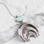 Silver Cascading Crescent Pendant Necklace