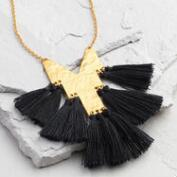 Black Tassel Tie Pendant Necklace