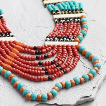 Turquoise and Red Beaded Multi Strand Necklace