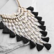Cascading Shell and Tassel Statement Necklace