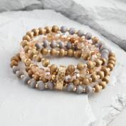 Gold and Wood Multi Strand Stretch Bracelet
