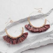 Rose Gold Fringe and Bead Hoop Drop Earrings