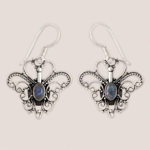 Novica Butterfly Love Silver Moonstone Earrings