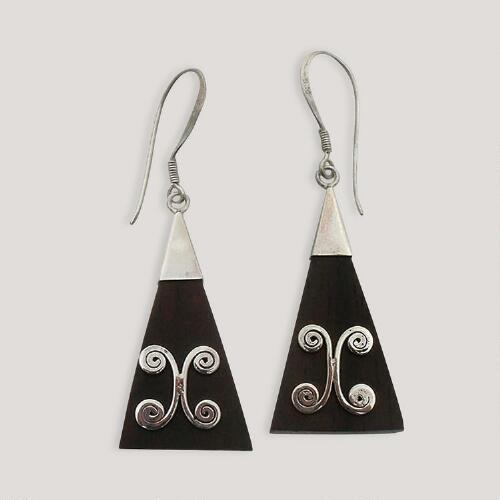 Novica Triangle Sterling Silver Dangle Earrings