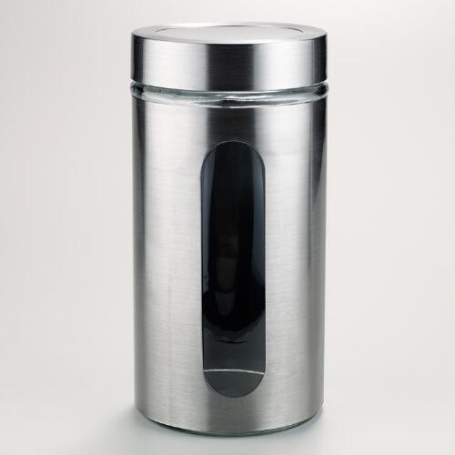 50-oz. Round Glass and Stainless Steel Storage Jar