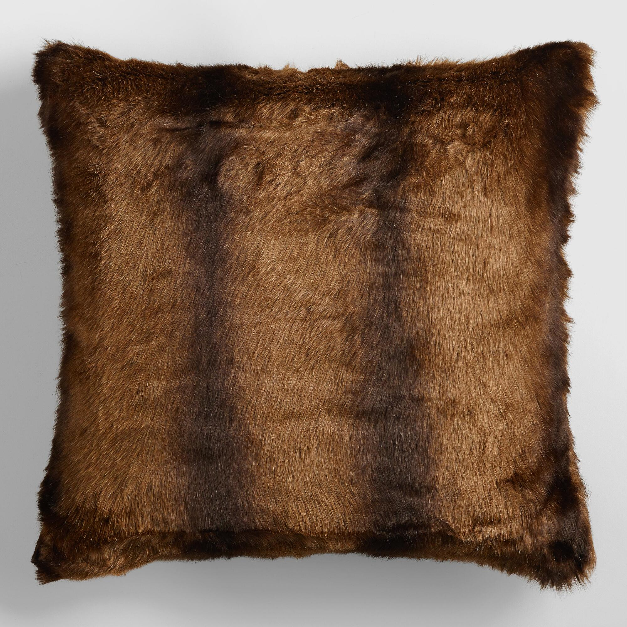 Decorative Pillows And Throws : Faux Mink Fur Throw Pillow World Market