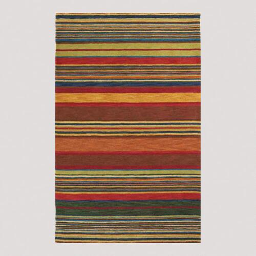 Multicolor Striped Tufted Wool Rug