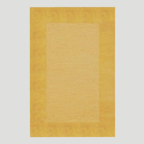 Gold Bordered Tufted Wool Rug