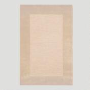 Natural Bordered Tufted Wool Rug