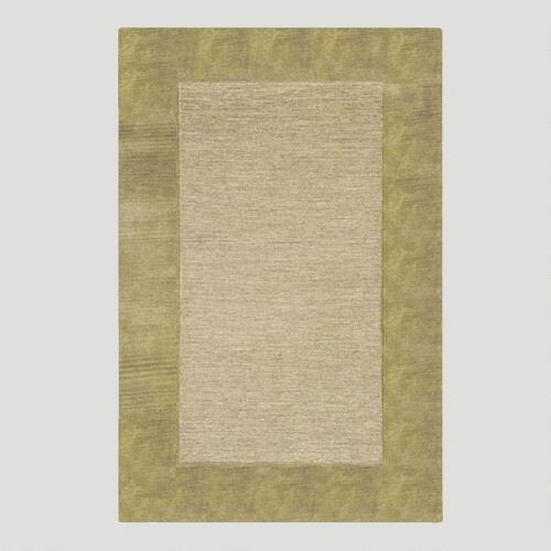 Sage Bordered Tufted Wool Rug