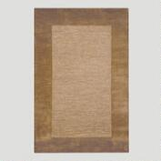 Brown Bordered Tufted Wool Rug