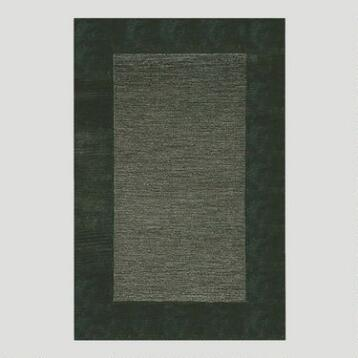 Charcoal Bordered Tufted Wool Rug