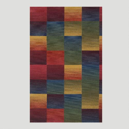Boxes Wool Tufted Rug, Multicolor