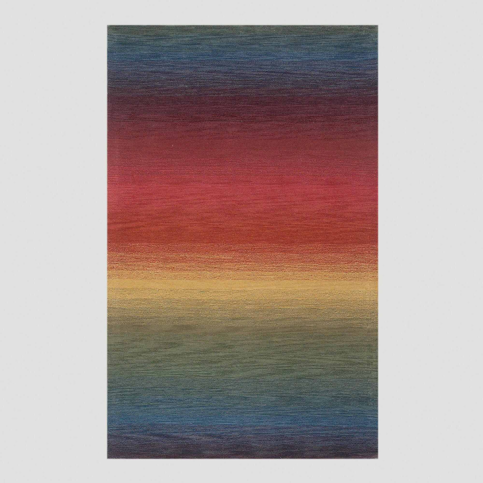 Ombre Stripes Multi Wool Rug, 9ftx12ft