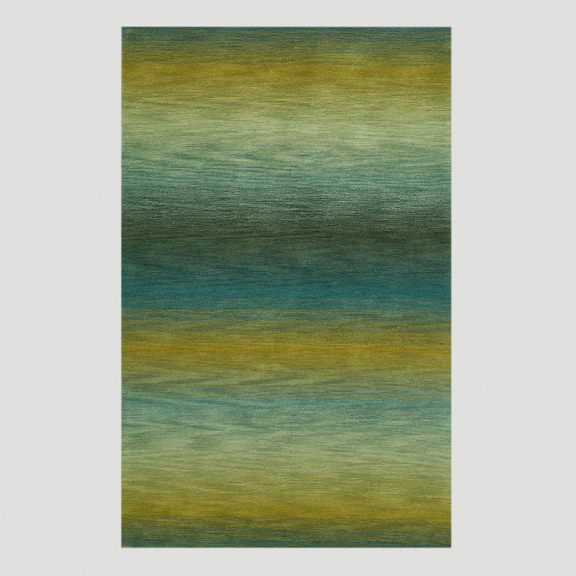 Ombre Stripes Ocean Wool Rug, 27inx8ft