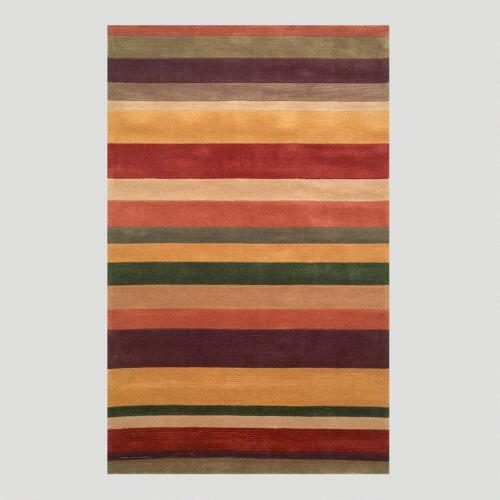 Striped Tufted Rug, Rust