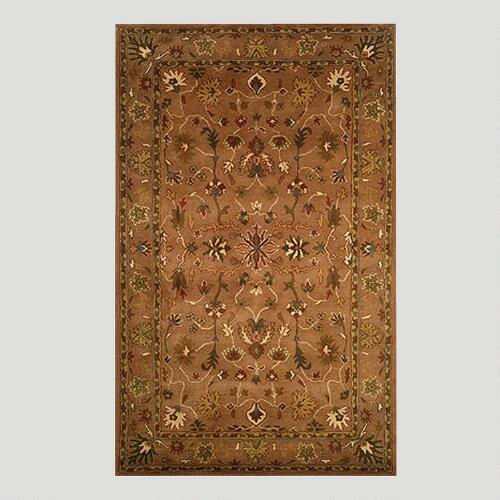 Brown Oushak Wool Rug