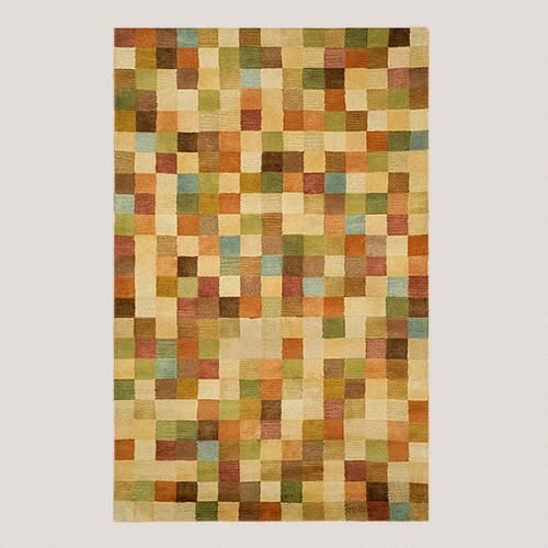 Pastel Squares Tufted Wool Rug
