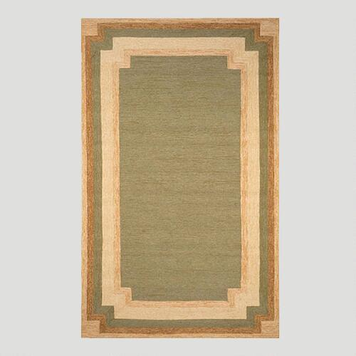 Green and Gold Border Indoor-Outdoor Rug