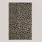 Giraffe Tufted Wool Rug, Black