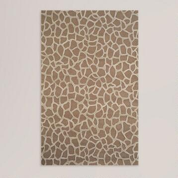 Giraffe Wool Tufted Rug, Taupe