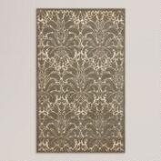 Silver Modern Damask Tufted Wool Rug
