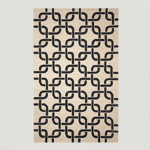 Black and Neutral Chains Indoor-Outdoor Rug
