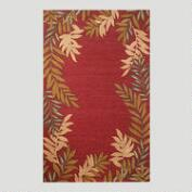 Red Fern Border Indoor-Outdoor Rug