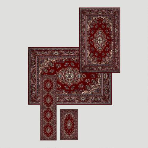 Kirman Red 4pc Rug Set