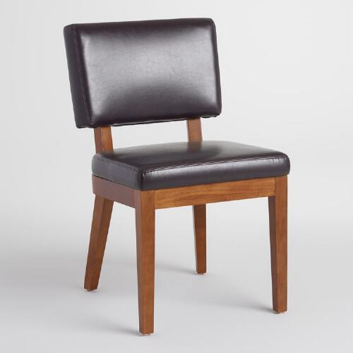 Espresso Bonded Leather Sophia Chairs, Set of 2