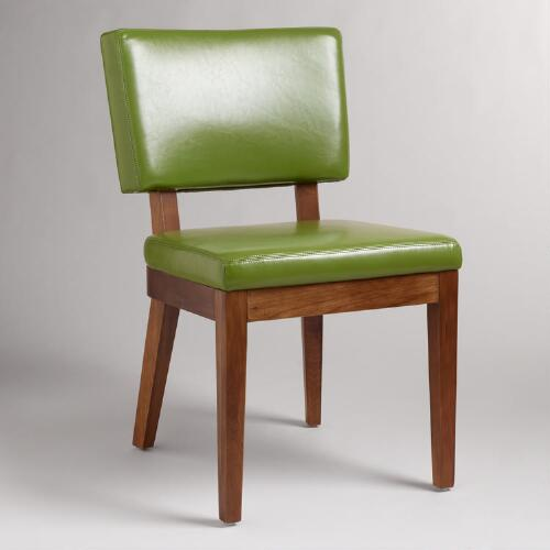 Green Bonded Leather Sophia Chairs, Set of 2
