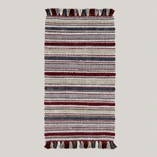 Plum Striped Chenille Boucle Chindi Rug 3
