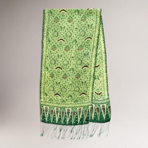 Novica Royal Java Green Silk Batik Scarf