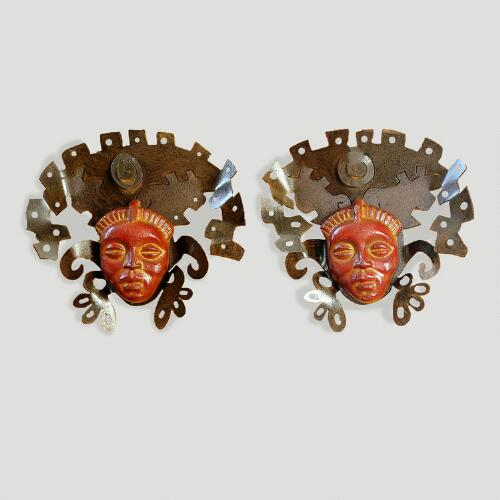 Novica Aztec Masks Iron and Ceramic Wall Decor, Set of 2