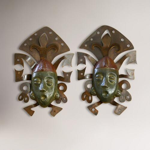 Novica Maya Masks Iron and Ceramic Wall Decor, Set of 2