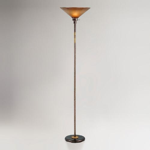 Rust Soho Torchiere Lamp with Glass Shade