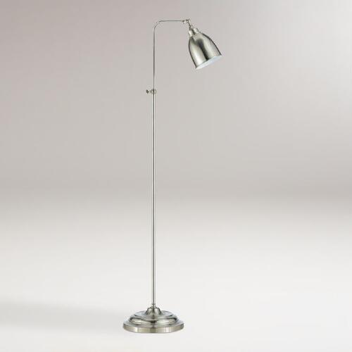 Brushed Steel Pharmacy Floor Lamp