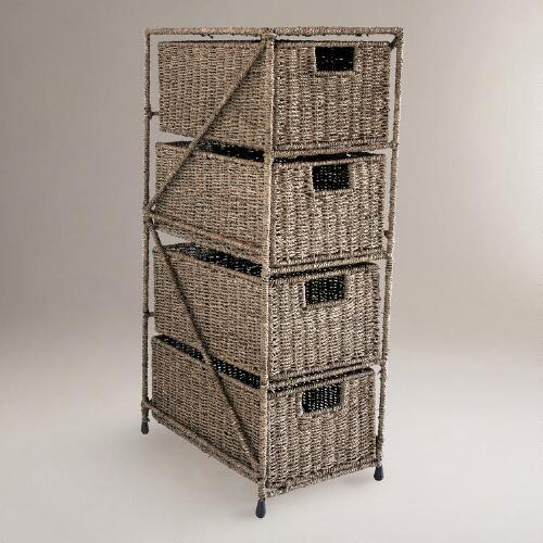 4-Drawer Sasha Seagrass Tower